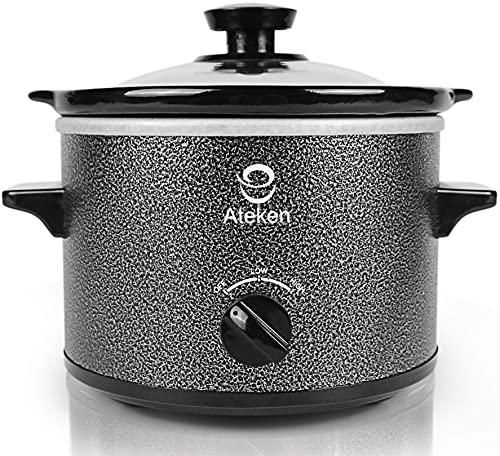 Ateken Slow Cooker 1.5 Quart Round Crock Removable Inser Pot with Glass Lid Dishwasher Safe Stainless Steel Black