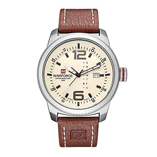 Mens Quartz Military Sports Watches Men Date Clock Man Casual Leather Big dial Wrist Watch N9063S (Silver)
