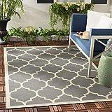 Safavieh Monaco Multipurpose Indoor/Outdoor Rug, Woven Polypropylene Carpet in Anthracite / Beige, 160 X 230 cm