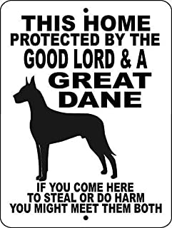 Great Dane Guard Dog Vinyl Graphics Applied Glgd Funny Metal Tin Sign Art Wall Decor Rust Free Heavy Duty Aluminum Sign