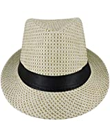 Silver Fever Patterned and Banded Fedora Hat (Beige w Black)