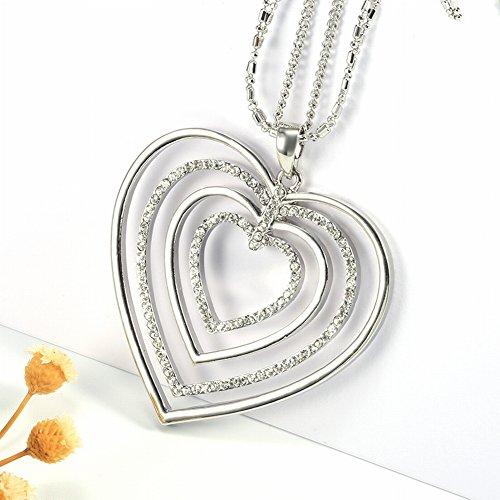 Legering Diamanten sleutelhanger Gepersonaliseerde Multi-Layer Hartvormige Holle Ketting, zilver