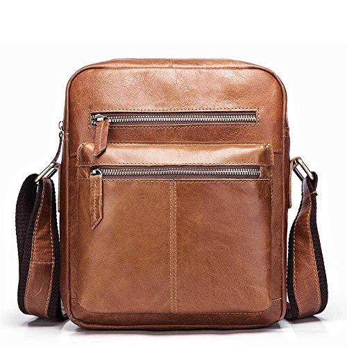 Vintage Herren Leder Single-Schulter Umhängetasche Business First Layer Ledertasche (Color : Khaki, Size : S)