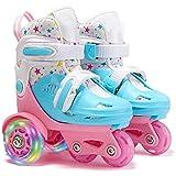 子供用ローラースケート調節可能な幼児用スケート女の子、女性、初心者向けのユニセックスクワッドローラースケート Pink,31-34