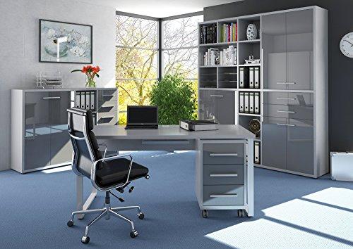 lisel-de Komplettes Arbeitszimmer - Büromöbel Komplettset Maja Set + in Platingrau/Grauglas (Set 11) Modell 2017