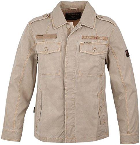 Bushman Herren Sommer Outdoor Freizeit Jacke Detroit aus 100% Baumwolle im Military-Look Beige/XL