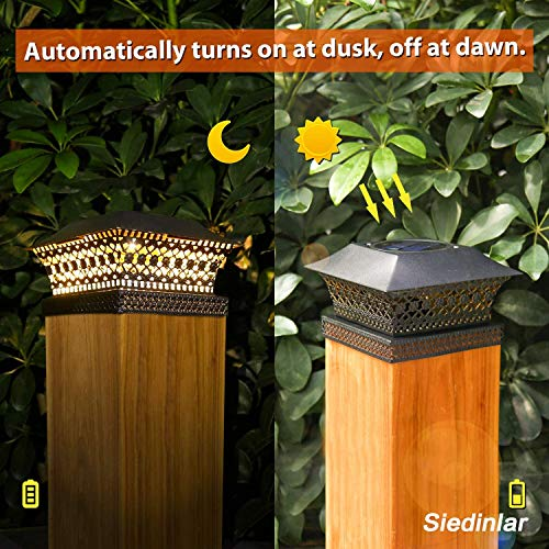 Siedinlar Solar Post Lights Outdoor Fence Deck Cap Light Solar Powered Metal Warm White LED Lighting Waterproof for Garden Patio Decoration 4x4 5x5 Wooden Posts Black (2 Pack)