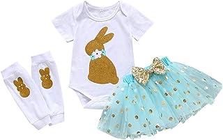 b781bed0e Baby Girls 3PCs Sets My 1st Easter Tutu Dress God Bunny Romper Short Slevee  Bodysuit Legs