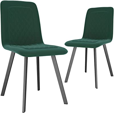 Tidyard Dining Chairs Kitchen Chairs livingroom Chairs Outdoor Indoor Chairs 2 pcs Green Velvet 45 x 57,5 x 90 cm (W x D x H)