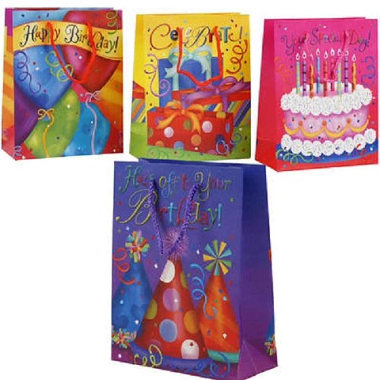 Birthday Gift Bags - Set of 4 - Colorful Gift Bags with Glitter - 9