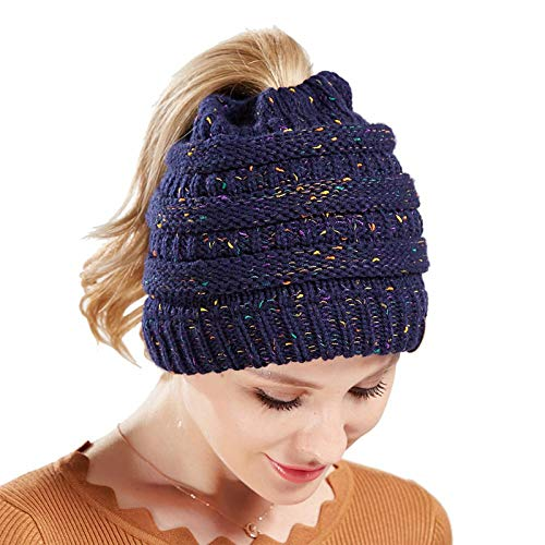 Liaiqing Women's Winter Windproof And Warmth, All-match Little Yarn Color Knitted Wool Hat To Protect Ears Curled Cold Hat (Color : A)