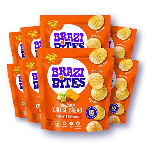 Brazi Bites Gluten-Free Brazilian Cheese Bread: Cheddar & Parmesan|VegetarianFrozen Bread Snacks|Soy-Free |No Artificial Ingredients|No Preservatives | 11.5 oz. pouches (8-pack)