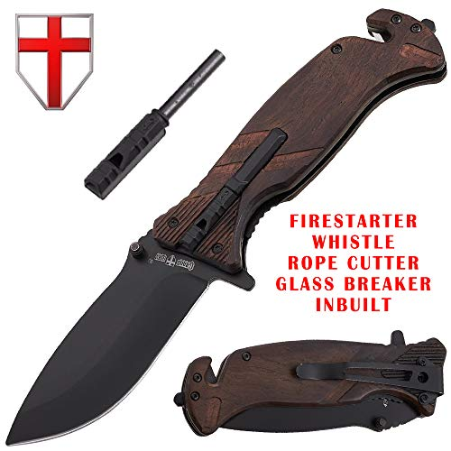 Pocket Knife Tactical Folding Knife Wood Handle - Spring Assisted Knife with Fire Starter & Glass Breaker & Whistle - Best EDC Boy Scout Survival Hiking Camping Knife - Grand Way 25560