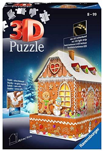 Ravensburger 11237 Puzzle 3D Ginger Bread House Night Edition, 216 Piezas, Multicolor, Edad Recomendada 8+, Dimensión Final 29x10 cm