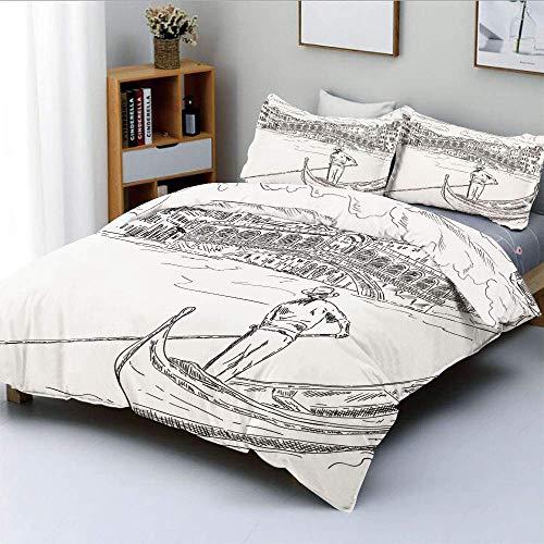 Juego de funda nórdica, puente de Rialto con góndola, romántico, italiano, inspirado en un paisaje urbano incompleto, decorativo, juego de ropa de cama de 3 piezas con 2 fundas de almohada, blanco neg