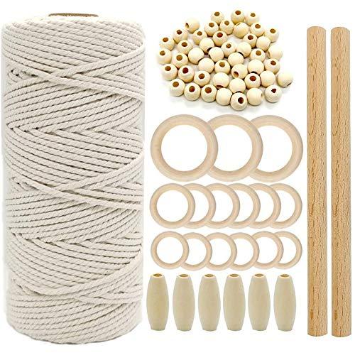 Tiamu Macramé de algodón 3 mm x 100 m, color natural, perlas de madera, varillas de madera, anillos de madera para manualidades, bohemio, tapiz de pared y planta de jardín, accesorios de red