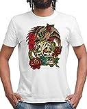 ZIAH FASHION 100% Cotton Unisex Streetwear Vintage Eagle, Skull, Rose Tattoo T Shirts. Japanese Kanji-Brave (XXL, Eagle Rose)