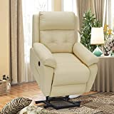Esright Electric Power Lift Recliner Chair Sofa for Elderly, Faux Leather Recliner Chair with Heated Vibration Massage, Heavy Duty&Safety Motion Reclining Mechanism,Side Pocket&USB Port, Cream White