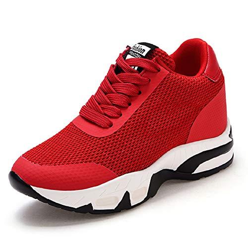AONEGOLD Damen Sneakers mit Keilabsatz Turnschuh Wedges Sportschuhe Freizeitschuhe Keilabsatz 8cm (Rot,Größe 34)