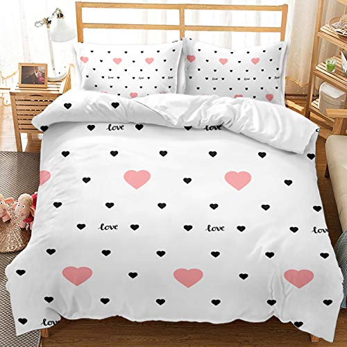 Simple And Lovely Strawberry Love Cloud Bedding, Superfine Fiber Extra Large 200X230cm Duvet Cover Set, Warm And Comfortable Home Textiles For Girls