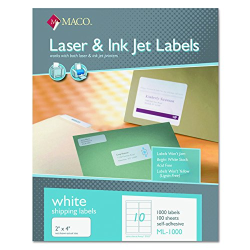 MACO ML1000 White Laser/Inkjet Shipping & Address Labels, 2 x 4 (Box of 1000)