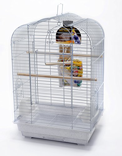 Penn-Plax Cockatiel Bird Cage Starter Kit, 27 Inch Cage Scallop Design with Toy, Cuttlebone, Treat, and Wood Perch, White (BCK3)