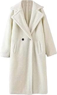 Macondoo Womens Sherpa Mid Long Outwear Fleece Lapel Pea Coat Jacket
