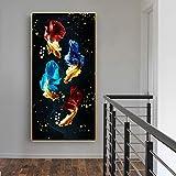 NFXOC Arte de Pared Carp Lotus Pond Koi Fish Feng Shui Pintura en Lienzo Póster con impresión Imágenes Modernas para la decoración del hogar de la Sala de Estar (80x160cm) Sin Marco
