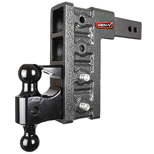 GEN-Y GH-624, 2.5' Receiver Adjustable Pintle Combo, Class V 21,000 lb 4-Receiver Slots,Drop Hitch, Drop/Raise 10',Multi use,Adjustable Hitch, Ball Mount Hitch