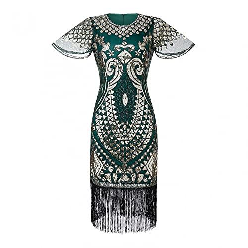 LOPILY Abendkleid Damen 20er Jahre Charleston Partykleid Perlendruck Paillettenkleider Glitzer Festlich Damenkleid Karneval Fasching Kostüm...