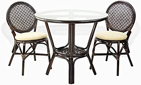 3 Pc Rattan Wicker Dining Set Round Table Glass Top 2 Denver Side Chairs With Cream Cushions Dark Brown
