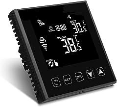 LEDLUX LL0251B Termostato Wi-Fi con Touch Negro 220 V Compatible con Alexa Google Home para caldera de gas pared calefacción radiador de agua
