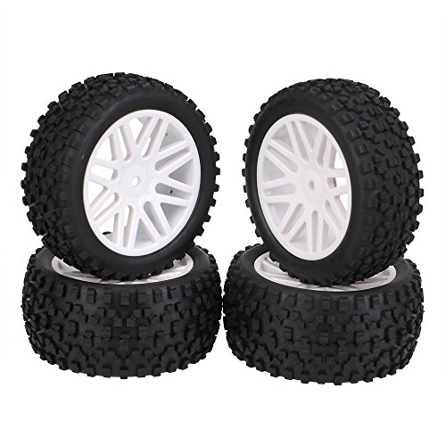 BQLZR 2x White Front Rear Wheel Rim Rubber Tyre Tires Replacement for RC 1:10 Off-Road