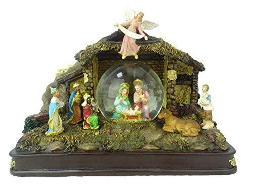 Christmas Concepts® 21cm Musical Christmas Resin Décoration Nativité Globe d'eau + Lumières LED Blanches