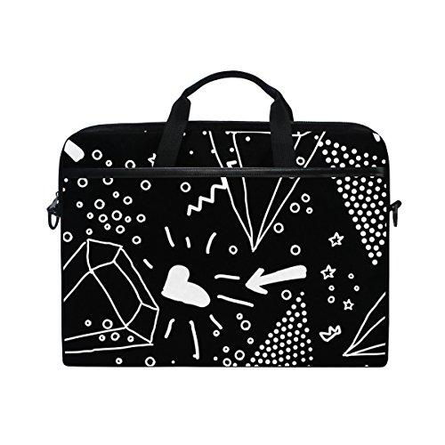 Ahomy Memphis Multifunktionale Laptoptasche/Aktentasche / Umhängetasche/Messenger Bag/Messenger Bag/Aktentasche / Schultertasche/Messenger Bag, Schwarz/Weiß