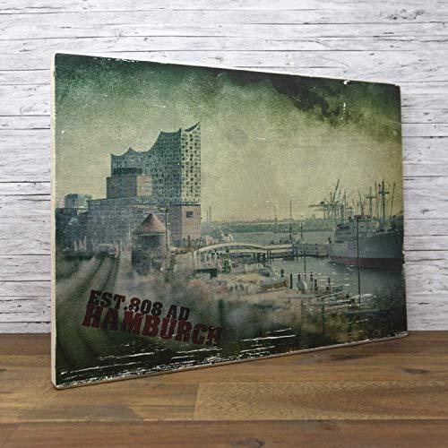 elbPLANKE - EST.808 AD Hamburch (30x40 cm) Holzbild von Fotoart-Hamburg | 100% Handemade