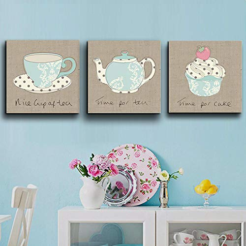 Wydlb Vintga koffiemok crème theepot poster en afdrukken canvas schilderen, keuken baby kinderkamer decoratie schilderij 50x50cmx3 zonder lijst