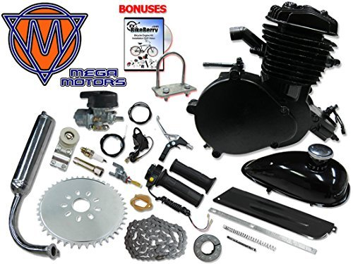 Mega Motors 66/80cc Black Motorized Bicycle Kit – 2 Stroke Gas Powered Bike Motor Engine