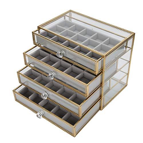 Caja de almacenamiento decorativa para joyería de uñas, 60 compartimentos Caja de joyería artística con cajones de 4 capas, adecuada para joyas de pendientes de uñas falsas