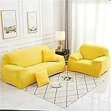 Surwin Funda de Sofá Elástica para Sofá de 1 2 3 4 plazas, Impresión Universal Cubierta de Sofá Cubre Moda Sofá Antideslizante Sofa Couch Cover Protector (Amarillo Brillante,1 Plaza - 90-140cm)