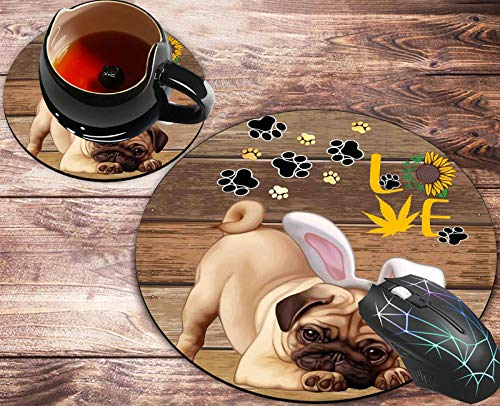Round Mouse Pad and Coasters Set, Rustic Woodgrain Funny Dog Black Dog Paw Mousepad, Anti Slip Rubber Round Mousepads Desktop Notebook Mouse Mat for Working and Gaming