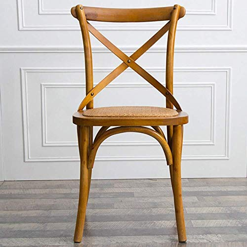 Yinggexu, sedia da pranzo in legno massello, sedia da sala da pranzo, sedia da bar, sedia da ufficio, forchetta con schienale semplice, sedia a libro (colore: marrone, dimensioni: 45 x 46 x 89 cm)