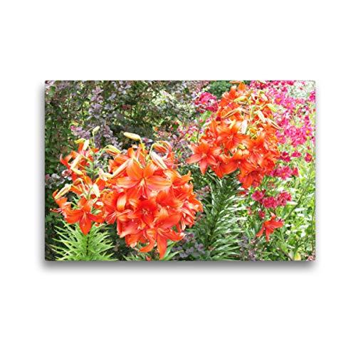 Premium Textil-Leinwand 45 x 30 cm Quer-Format Lilien in leuchtendem Rot mit pinken Inkalilien | Wandbild, HD-Bild auf Keilrahmen, Fertigbild auf hochwertigem Vlies, Leinwanddruck von Gisela Kruse