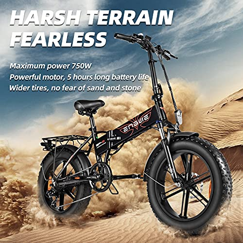 ENGWE 750W Folding Electric Bike for Adults 20' 4.0 Fat Tire Mountain Beach Snow Bicycles Aluminum Electric Scooter 7 Speed Gear E-Bike with Detachable Lithium Battery 48V12.8A Up to 28MPH (Black)