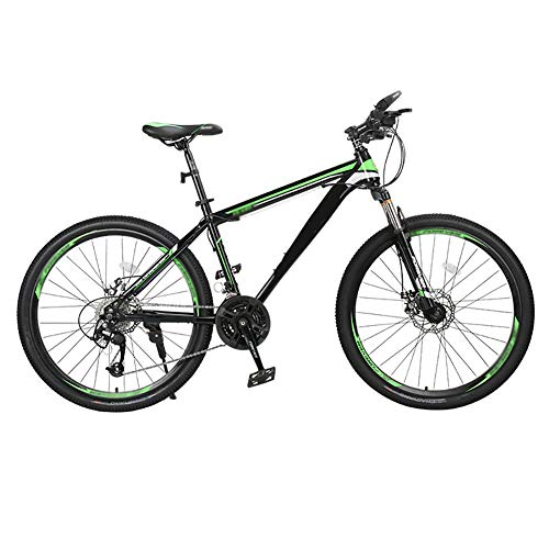 ZHYLOVE Hardtail Mountain Bike 26 Inch Double Disc Brake Aluminum Alloy MTB Mountain Bicycle with Front Suspension Adjustable Seat 27/30 Speed Mountain Bike Unisex,Green,27 Speed