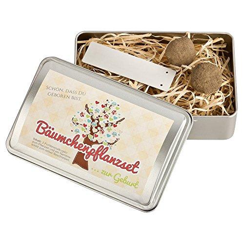 4you Design Bäumchen-Pflanz-Set zur Geburt - Fichtensaatkugeln - Geschenk zur Geburt/Taufe - Geschenkidee