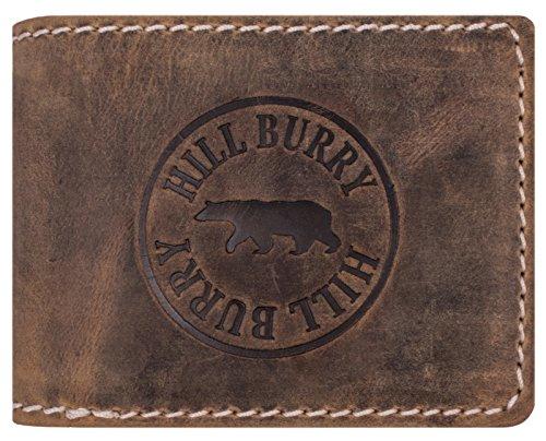 Hill Burry Herren Ledergeldbörse   Geldbörse aus echtem Leder   Echtleder Männer Geldbeutel   schlanke Vintage Brieftasche   Großes Portemonnaie mit RFID-Schutz - Querformat (Braun)