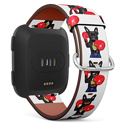 Funny Boxing French Bulldog - Patterned Leather Wristband Strap Compatible with Fibit Versa,Replacement for Versa Watch Band