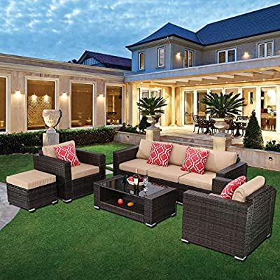 HTTH 7 Pieces Outdoor Patio Rattan Sofa Wicker Sets with Washable Cushions Conversation Garden Furniture Coffee Table Backyard Ivory(Tan)