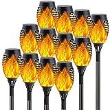 12-Pack Solar Flame Torch (Upgraded Vivid Flame), Solar Halloween Lights Outdoor Decorations with Flickering Flames, Waterproof Outdoor Lights for Garden Pathway Halloween Decor